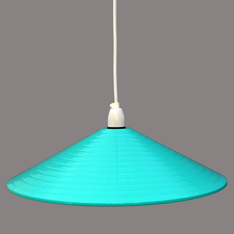 Large 1970s turquoise and white ribbed metal pendant.