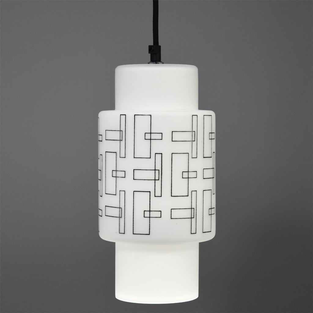 1970s/1980s White glass ceiling light with black rectangular pattern