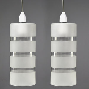 Pair of tall 1970s clear glass pendant lights with frosted banding