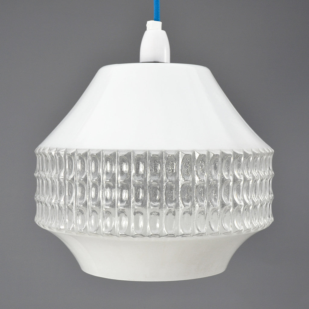1950s Retro white and clear glass pendant light with white ceiling rose.