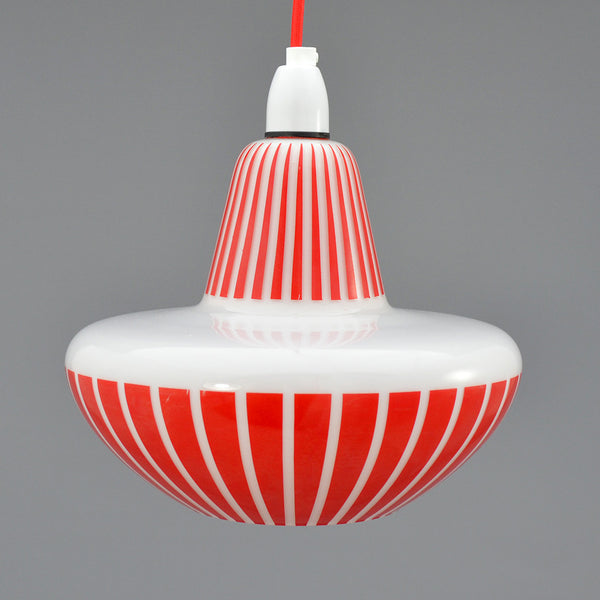 1960s White glass Pendant light with red pattern