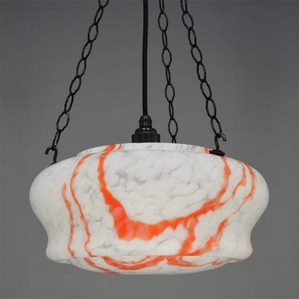 Art Deco white marbled glass flycatcher ceiling light with orange patterning
