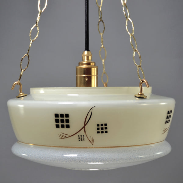 Art Deco Flycatcher/Plafonnier glass bowl ceiling light with cream sides and black and gold decoration