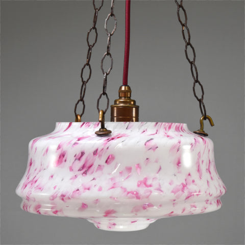 Art Deco white glass and deep pink marbled flycatcher