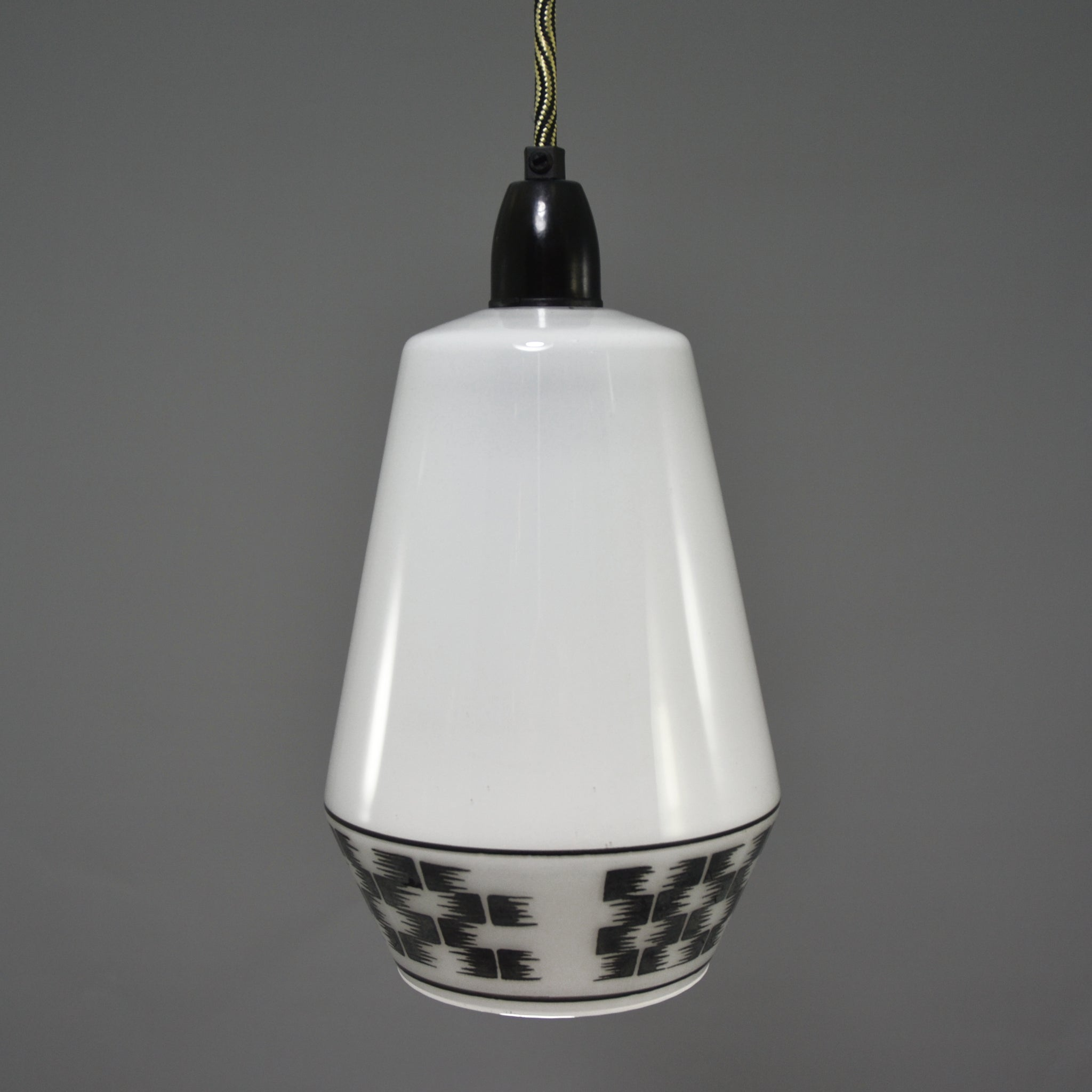 Mid Century Modern 1960s white glass pendant light with with black checkered motif