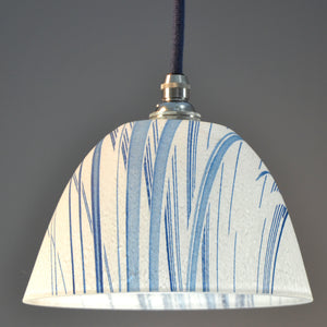 Landlines Pate de verre' glass pendant/ceiling white and blue