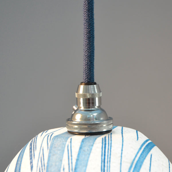 Blue Coarse Weave Linen Cable and chrome fittings