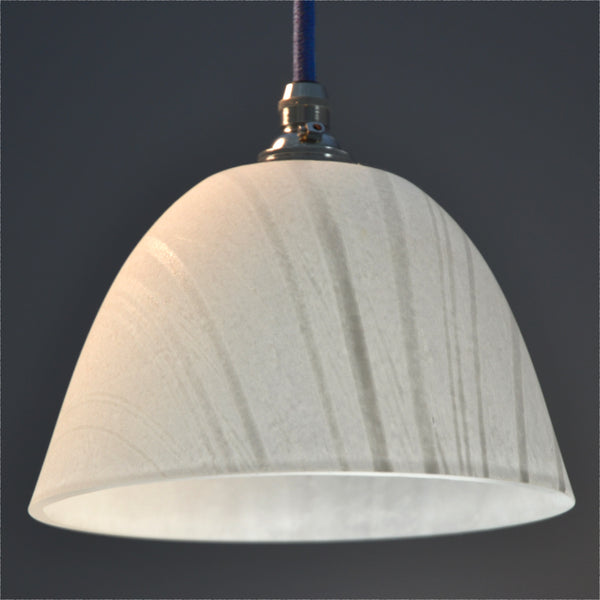 'Landlines' hand made pate de verre glass pendant shade/ceiling light white