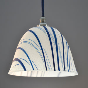 Landlines hand made 'Pate de verre' glass pendant light/ceiling white and blue