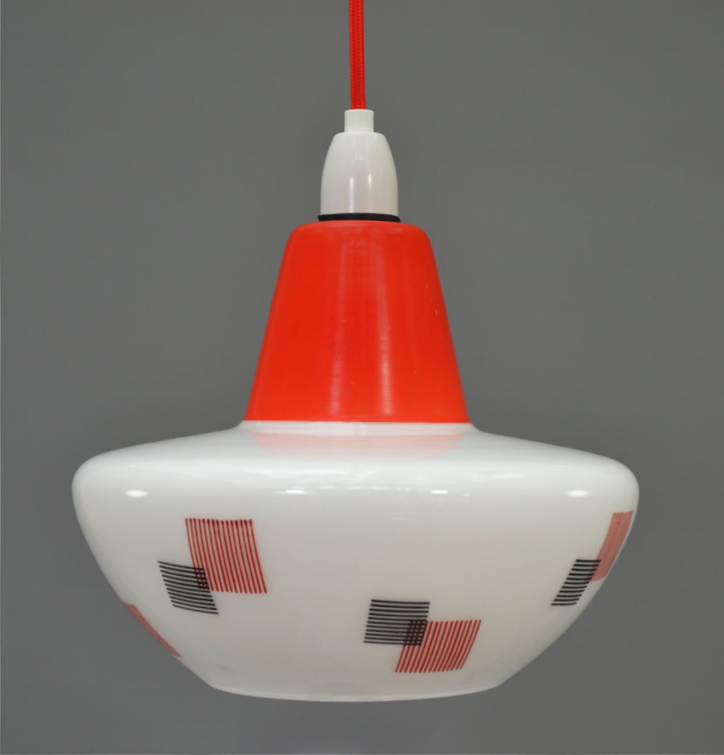 Mid-Century Modern 1960s White glass Ceiling Light