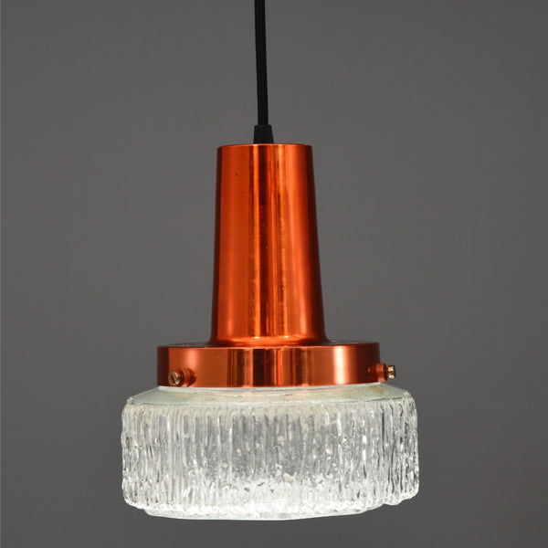 Mid-Century Modern faceted glass & copper ceiling pendant lights
