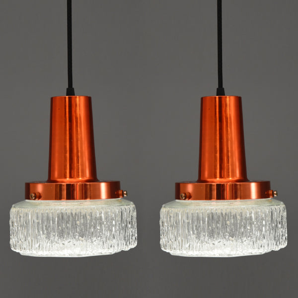 Mid-Century Modern faceted glass & copper ceiling pendants