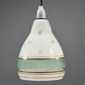 Vintage White & Turquoise Glass Pendant Light Shade