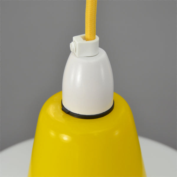 Mid Century Modern 1950s white glass pendant light with yellow top and white base
