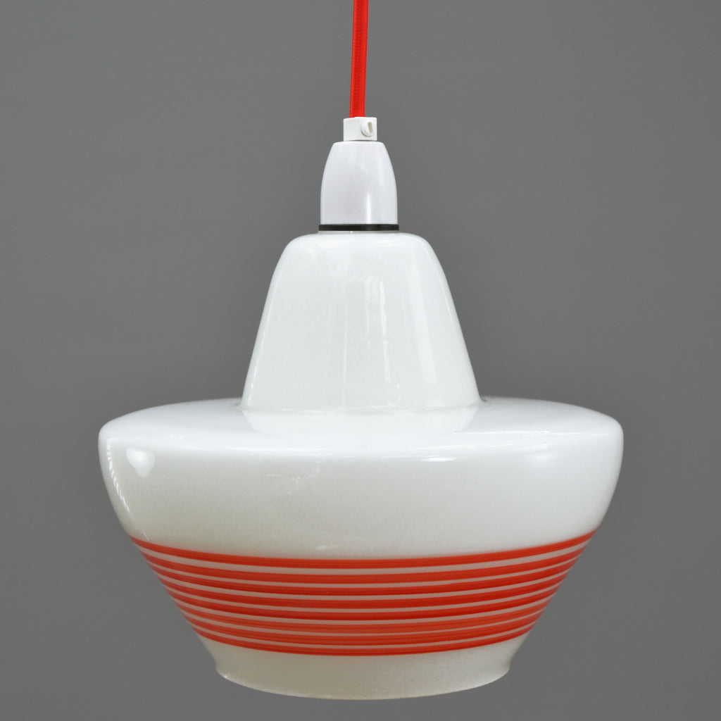 Mid Century Modern 1960s white glass pendant light with red stripes