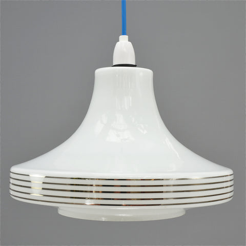 Retro white glass pendant light shade with silver stripes 1960s/1970s