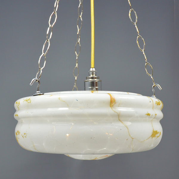 Vintage Flycatcher hanging glass bowl ceiling light with yellow orange and white pattern