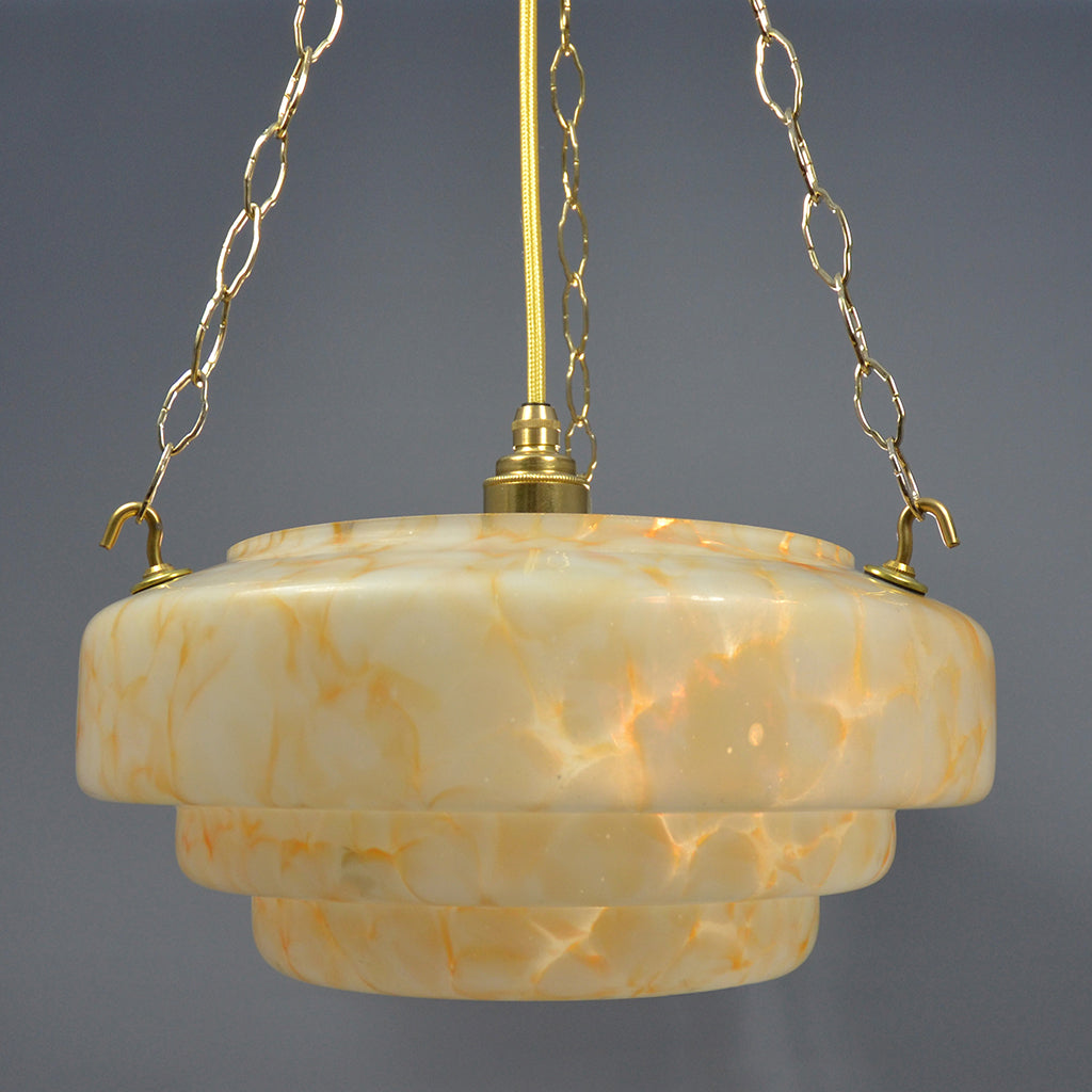 Classic Art Deco stepped Flycatcher glass bowl ceiling light with amber marbling