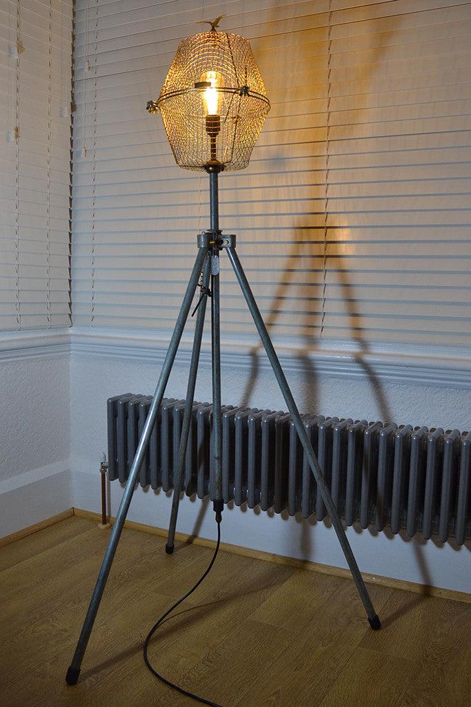 Mid Century Modern lighting, Upcycled Tall floor light 'Free as a bird'