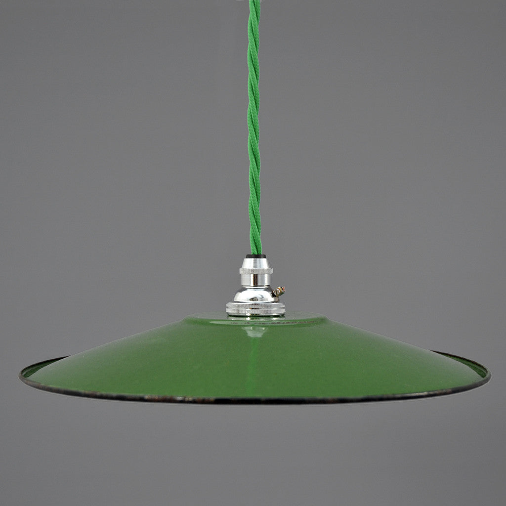 Vintage French light green enamel coolie pendant light