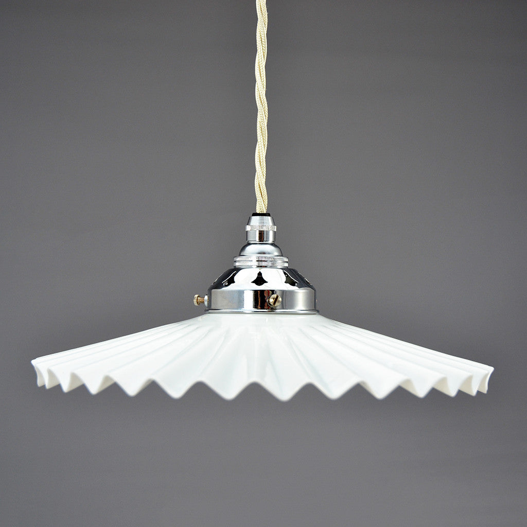 Vintage French white glass fan pendant lamp shade.