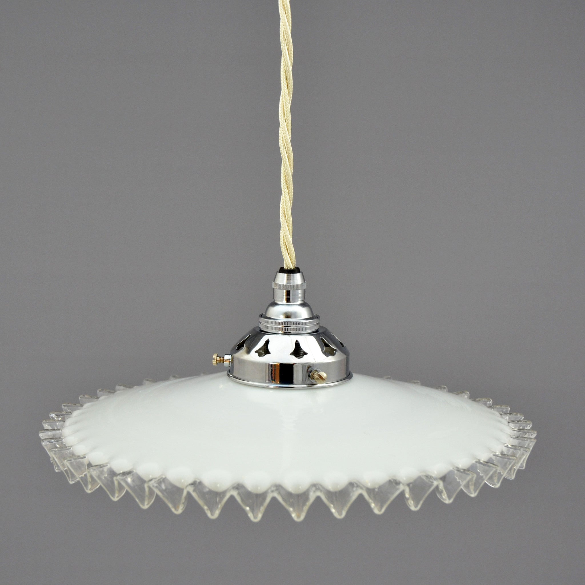 French white glass Ceiling Light/Pendant Light shade with clear glass frill