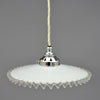 Vintage French white glass pendant lamp shade with frill