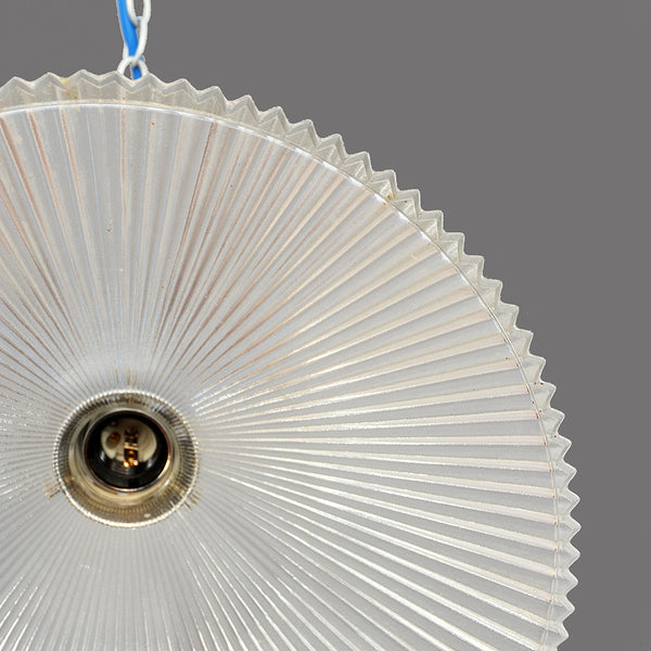1950s/1960s Holophane prismatic glass pendant light