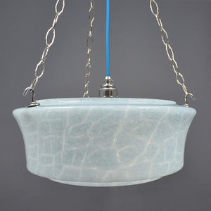 1940s large Flycatcher ceiling light in blue and white marbled glass