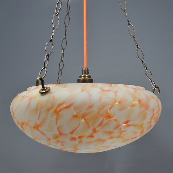 Orange Flakestone Art Deco Fycatcher glass bowl ceiling light