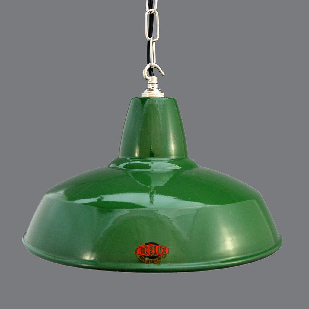 'Thorlux' vitreous enamelled green pendant light