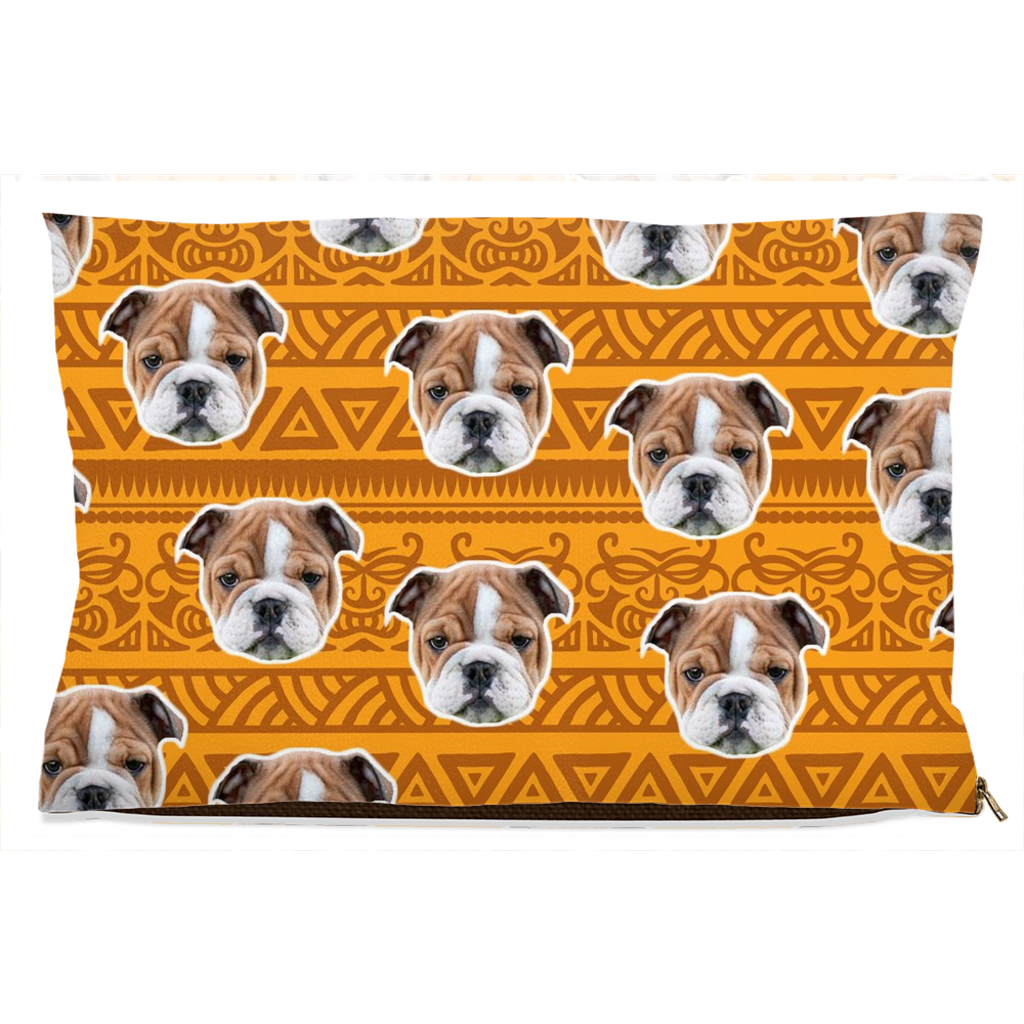 Orange Tribal Print Pet Bed