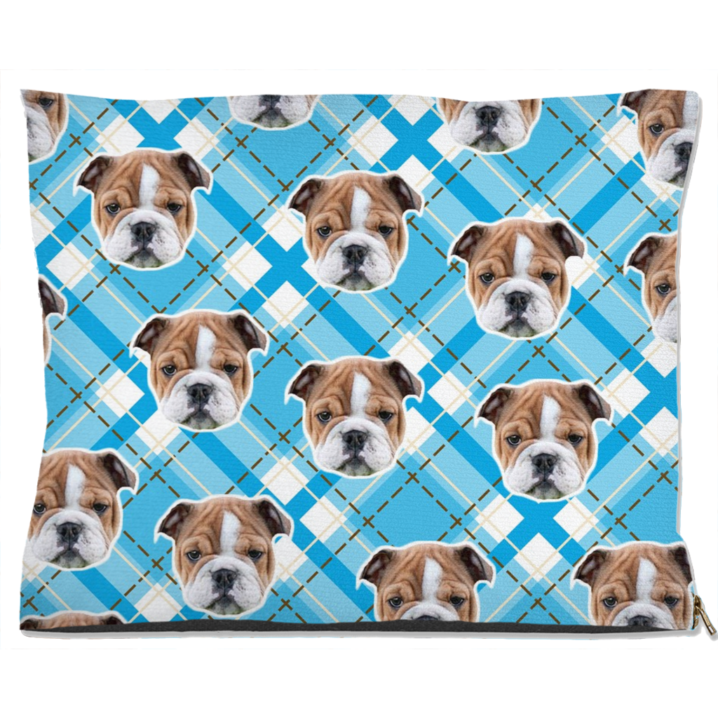 Light Blue Plaid Pet Bed