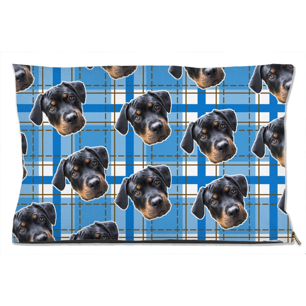 Blue Plaid Pet Bed