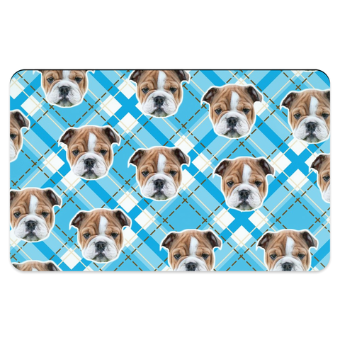 Light Blue Plaid Pet Placemats