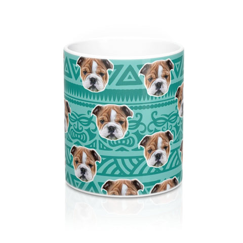 Image of Blue Tribal Print Coffee Mug