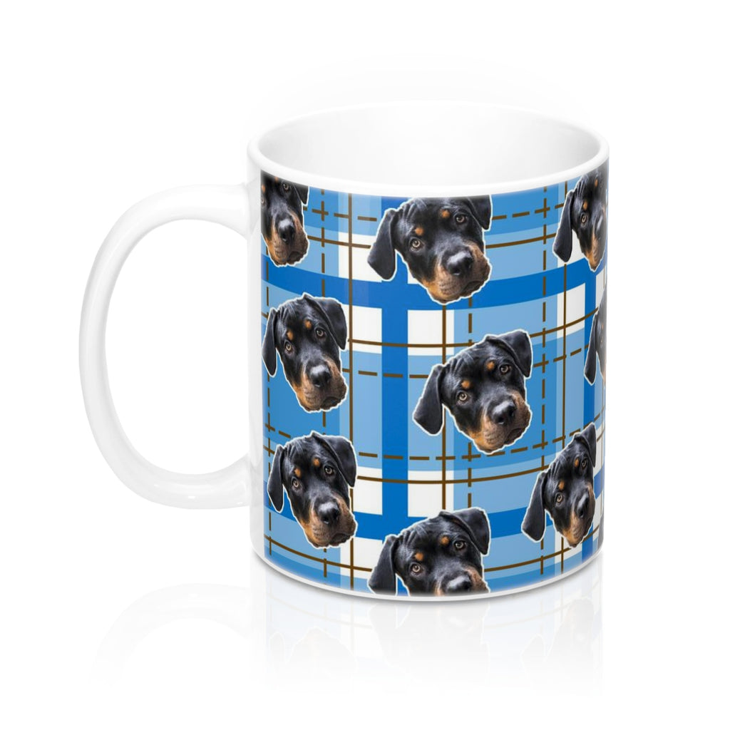 Dark Blue Plaid Coffee Mug