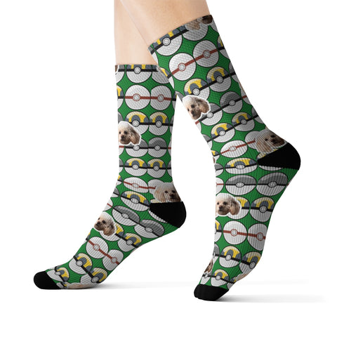 Green Poké Ball Inspired Sock
