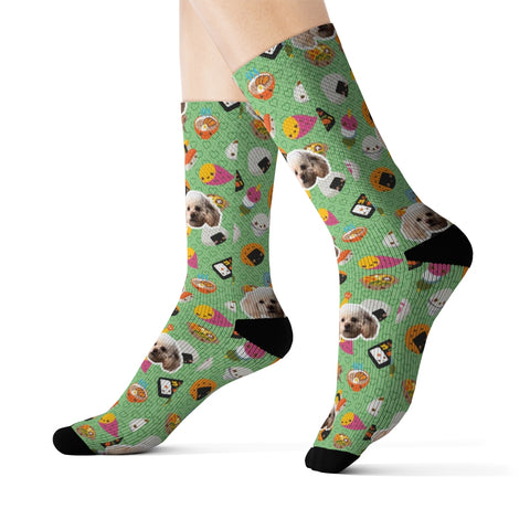 Kawaii Green Characters Sock