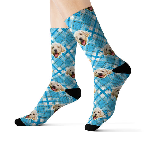 Light Blue Plaid Sock