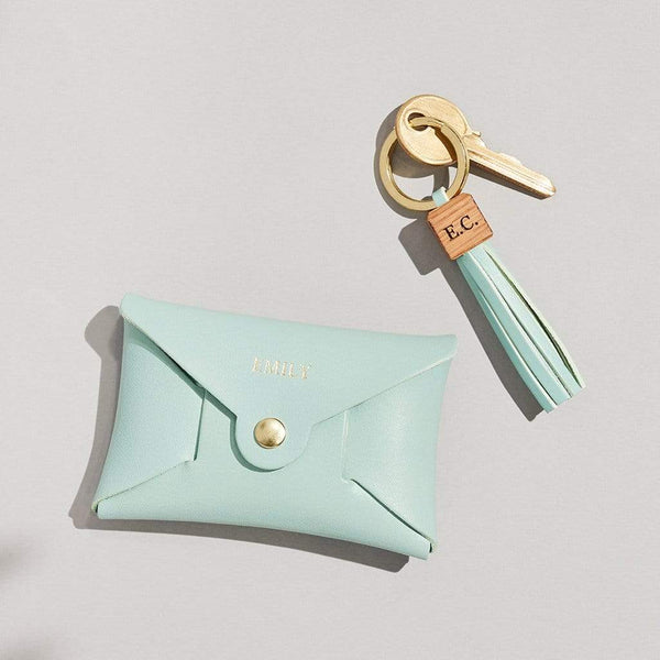 Personalised Mint Green Leather Coin Purse Keyring Set - Ava - Sbri