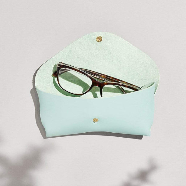 Personalised Mint Green Leather Glasses Case - Ava - Sbri