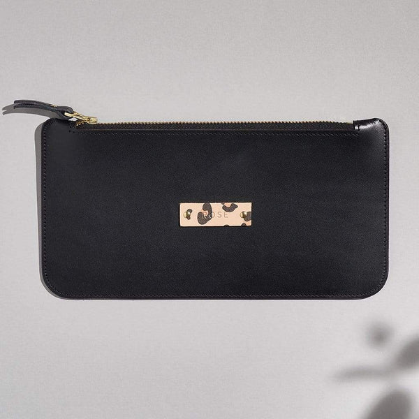 Personalised Black Leather Zipped Pouch - Carla - Sbri