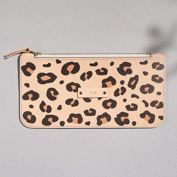 Personalised Leopard Print Leather Zipped Pouch - Emily - Sbri