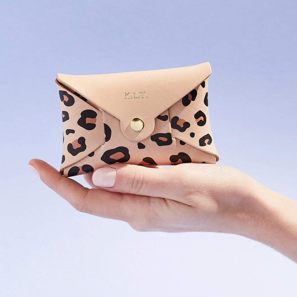 Personalised Leopard Print Leather Coin Purse - Emily - Sbri