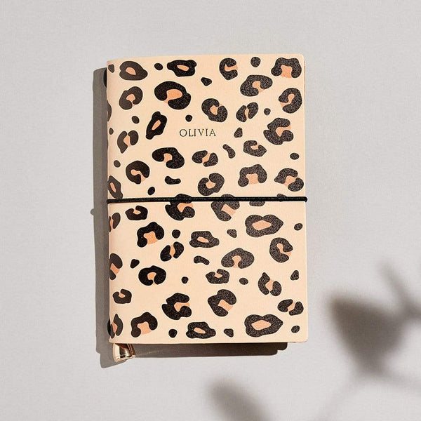 Personalised Leopard Print Leather A6 Refillable Journal - Emily - Sbri