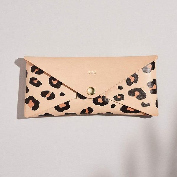 Personalised Leopard Print Leather Envelope Purse - Emily - Sbri