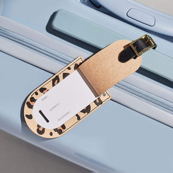 Personalised Leopard Print Leather Luggage Tag - Emily - Sbri