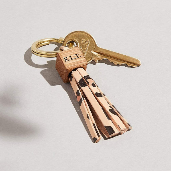 Personalised Leopard Print Leather Tassel Keyring - Emily - Sbri