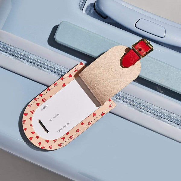 Personalised Heart Print Leather Luggage Tag - Evelyn - Sbri